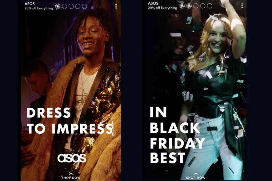 ASOS promoted story on Snapchat